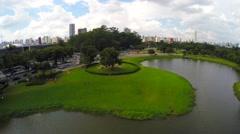 Flying around the Ibirapuera Park, Sao Paulo, Brazil Stock Footage