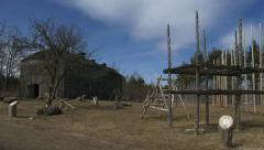 Reconstructed 15th century Iroquoian village in Canada Stock Footage
