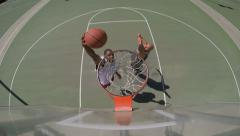Overhead Angle of Two People Playing Basketball Outside, 4K Stock Footage