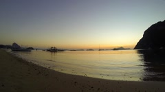 Philippines beach view overlooking pristine bay at sunset. Stock Footage