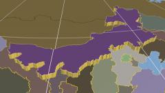 Nei Mongol - China autonomous region extruded. Solids. - stock footage