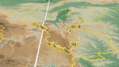 Ningxia Hui - China autonomous region extruded. Bumps shaded. Stock Footage