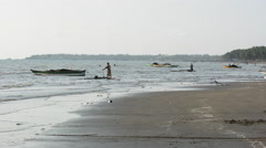 People fishing along the malandog beach for milkfish frie in philippines Stock Footage