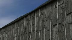 Detail of Iroquois longhouse in a reconstructed 15th century Iroquoian village i Stock Footage
