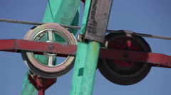 Rolling Wheels of ski lift station Stock Footage