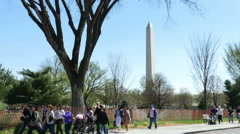 3338 People Walking by Washington Monument in DC, 4K - stock footage