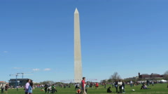 3341 People Walking by Washington Monument in DC, 4K Stock Footage