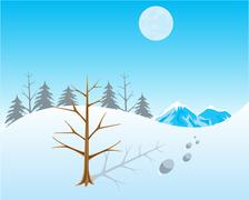 Winter in wood Stock Illustration
