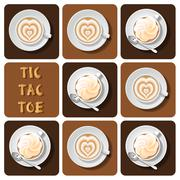 Tic-Tac-Toe of latte - stock illustration