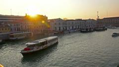 Sunset 4K POV view on Grande Canal and vaporetto - stock footage