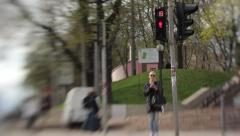 The traffic signal operates on a pedestrian crossing Stock Footage