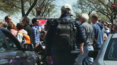 3347 Crowd of People Crossing Street in Washington DC, 4K  - stock footage