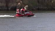 Stock Video Footage of 4K UHD couple on jetski on colorado river - 1
