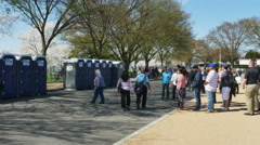 3350 April 2015 Washington DC People Waiting for the Bathroom, 4K Stock Footage