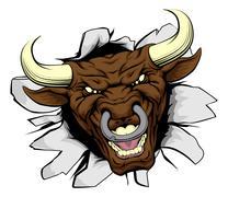 Bull mascot breakthrough - stock illustration