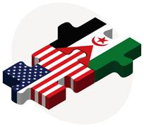Stock Illustration of USA and Western Sahara Flags in puzzle