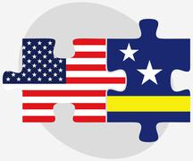 Stock Illustration of USA and Curacao Flags in puzzle