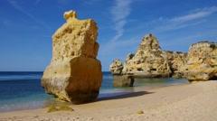 Algarve beach Marinha, Algarve in Portugal Stock Footage