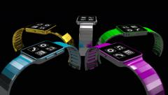 Smart phones morph into smart watches, 3D animation - stock footage