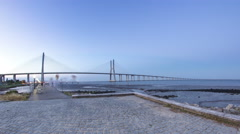 Vasco da Gama Bridge over the tagus river timelapse, Lisbon, Portugal Stock Footage