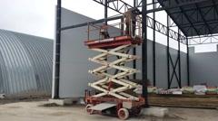 Work welder on the lift. Welding work. - stock footage