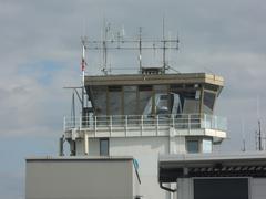 Airport control tower in Ljubljana, Slovenia Stock Photos