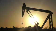 California Oil Rig at Sunset - stock footage