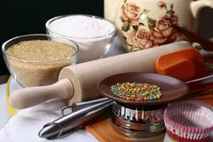 Products and kitchen appliances Stock Photos