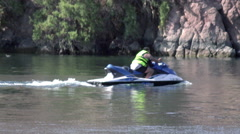 4K UHD man on jet ski on the Colorado river water sport - stock footage
