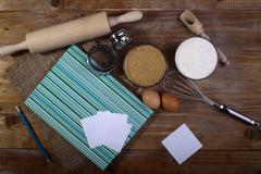 Set of ingredients and appliances for cooking Stock Photos