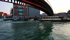 View from Grand Canal and boat under Constitution bridge Stock Footage