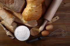 White bread flour and appliances - stock photo