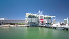 Lisbon Oceanarium timelapse hyperlapse, Parque das Nacoes, Portugal Stock Footage