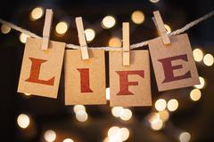Life Concept Clipped Cards and Lights - stock photo