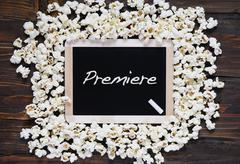 Popcorn and word premiere. - stock photo