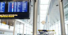 Copenhagen Airport interior overview panning Stock Footage