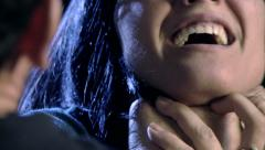 Closeup of hand strangling and hitting woman domestic violence - stock footage