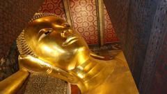 Beautiful Gold Image Buddha Posture Sleep Of Thailand (pan shot) Stock Footage