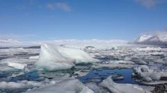 Jökulsárlón Glacier lagoon in southeast Iceland - stock footage