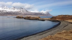 Beach and fjords in East Iceland Stock Footage