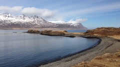 Pan from fjords at East Iceland Stock Footage