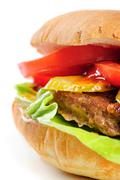 Realistic looking half hamburger Stock Photos