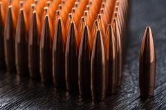 Macro shot of copper bullets Stock Photos