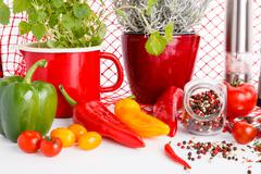 Various spicces arrangement with herbs like chili paprika raw pepper bay leaf ol - stock photo
