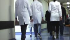 Hospital ,corridor in hospital, Bed - stock footage