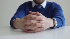 Hands of businessman on the table during the discussion Stock Footage