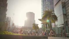 BANGKOK ,THAILAND - APRIL 17,2015 : Crane shot of Siam Center mall and Siam Para Stock Footage