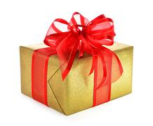 Isolated gold gift box with red bow - stock photo