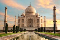 The magnificent Taj Mahal at a glorious sunrise - stock photo