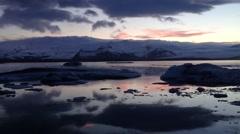 Evening at Jökulsárlón Glacier lagoon in southeast Iceland Stock Footage